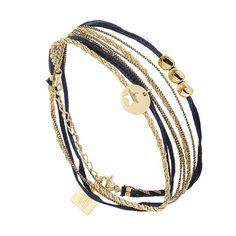 Bracelet étoile multi-tour (doré et bleu) - Bijoux Fantaisie Créateurs