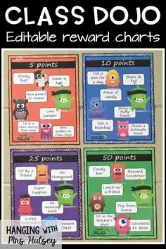 Reward ideas for Class Dojo can be free and promote good behavior in any classroom! These charts work well with a classroom economy system-- and it's easy to implement and use as a bulletin board! Class Dojo Rewards, Student Rewards, Classroom Rewards, Classroom Behavior Management, Class Reward System, Classroom Discipline, Behavior Rewards, Behaviour Management, 3rd Grade Classroom