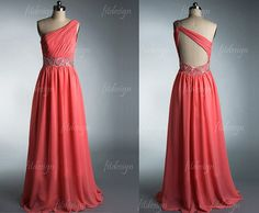 Modest in the front but sexy in the back! ;) ~~~ coral prom dress open back prom dress long prom dress by fitdesign, $139.00