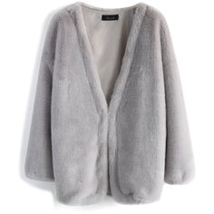 Chicwish Ultra Comfy Faux Fur Coat in Grey (650 NOK) ❤ liked on Polyvore featuring outerwear, coats, jackets, coats & jackets, grey, gray coat, grey faux fur coat, fake fur coats, imitation fur coats and gray faux fur coat