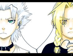 Hitsugaya and Ed - the cute little guys. ROFL (drawing by ~nocturnalMoTH on deviantart)(bleach/fullmetal alchemist) Me Me Me Anime, Anime Guys, Manga Anime, Bleach Fanart, Bleach Anime, Pokerface, Fairy Tail Love, Alphonse Elric, Edward Elric
