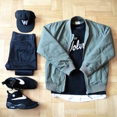Outfitgrid - Wood Wood jacket & cap / Edwin jeans / Raised By Wolves tee / Nike Air Shake NDestrukt shoes