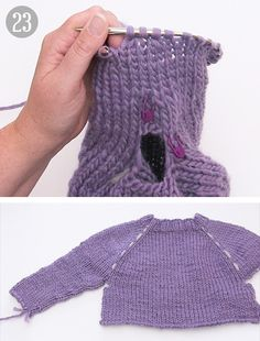How to work a jumper top down - DROPS Lessons / Knitting lessons Knitting Stiches, Sweater Knitting Patterns, Knitting Designs, Crochet Kids Scarf, Crochet For Kids, Knit Crochet, Knitting For Kids, Free Knitting, Baby Knitting