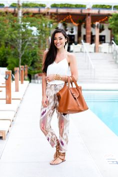 "Poolside Attire - Calypso St. Barth pants c/o // Express tank Meli Melo bag // Valentino sandals Julie Vos bangles // Bobbi Brown ""Bali"" bronzer Friday, February 6, 2015"