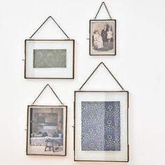 Cadre photo avec chaîne en verre et métal finition laiton