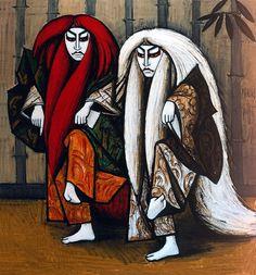Kabuki : Ren Jishi - 1987, oil on canvas - 203 x 220 cm by Bernard Buffet (French 1928-1999)