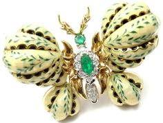 Cartier Enamel Emerald Diamond Gold Butterfly Brooch | From a unique collection of vintage brooches at https://www.1stdibs.com/jewelry/brooches/brooches/