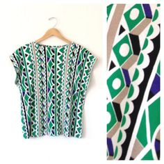 retro vintage funky green pattern shirt / groovy print short sleeve top / green white and blue vintage hipster geometric shirt