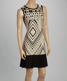 This Tiana B Black & Tan Deco Trapeze Dress by Tiana B is perfect! #zulilyfinds