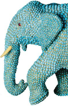 It's an elephant and it's gold and teal!