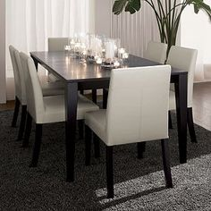 Triad Extension Dining Table and Pullman Chairs from Crate and Barrel Dinning Tables And Chairs, Dining Room Table, Side Chairs, Dinning Set, Dining Rooms, Family Room Furniture, Home Furniture, Barrel Furniture, Extension Dining Table