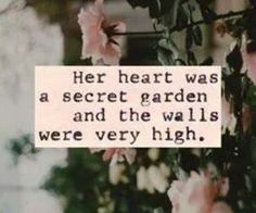 She could only see part of her garden because she built so many walls she couldn't see anywhere else  but no one ever cared enough to knock down the walls she built and help her build bridged to walk across and see thr rest of her garden