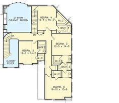 One-of-a-Kind Facade - floor plan - Floor Luxury House Plans, New House Plans, House Floor Plans, Kim House, I Love House, House Design Pictures, Two Story Foyer, Mountain House Plans, Garage Interior