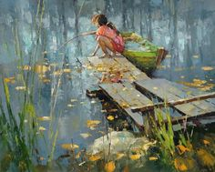 """Indian summer"" By Alexi Zaitsev, from Russia (b. 1959) - oil on canvas; 40 x 50 cm - Alexi Zaitsev was born in 1959 in Ryazan, Russia."