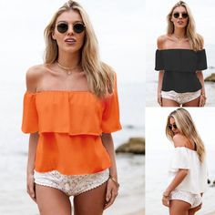 Fashion Women Lady Sexy Off Shoulder Casual Short Sleeve Slim T-Shirt Top Blouse #UnbrandedGeneric #Blouse #Casual
