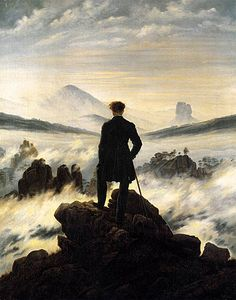 In this painting Friedrich shows a lonely figure confronting nature in astonished reverence.