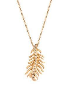 Phoenix 18k Rose Gold Diamond Feather Pendant Necklace, Small