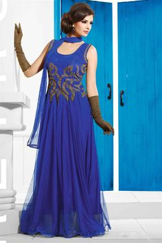 Blue Color Readymade Net Gown - $134.96