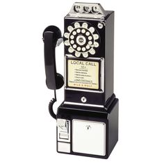 Crosley BK Classic Retro Pay Phone Wall Mountable Coin Bank Black New 710244275637 Telephone Vintage, Vintage Phones, Telephone Booth, 1950 Diner, Retro Diner, Retro Ads, Innovation Living, Love Vintage, Antiques