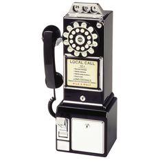 Crosley BK Classic Retro Pay Phone Wall Mountable Coin Bank Black New 710244275637 Telephone Retro, Telephone Booth, Retro Phone, Innovation Living, Love Vintage, Vintage Stuff, Vintage Items, Vintage Decor, Childhood