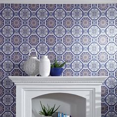 Tropics Brasillia Tiles Wallpaper - Blue - Arthouse 690500  This beautiful Brasillia Tiles wallpaper features a stunning geometric design based on intricately patterned ceramic tiles in soft muted tones of white, blue and red, with a subtle metallic sheen for a shimmering finish. Easy to apply, this high quality wallpaper would look great as a feature wall or equally good when used to decorate a whole room. A beautiful ceramic tile design wallpaper Features a subtle metallic sheen Ideal for…
