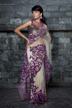 Applique Worked Sheeting Saree   Strandofsilk.com - Indian Designers