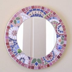 Personalized mosaic mirror for baby girl, custom mosaic mirror. Mosaic Artwork, Mirror Mosaic, Mosaic Diy, Mosaic Garden, Mosaic Crafts, Mosaic Projects, Stained Glass Projects, Mosaic Wall, Mosaic Glass