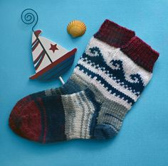 Knitting socks for children marine theme/ Dappled colorful knit wool sox/warm knit  socks handmade/baby socks with a marine pattern
