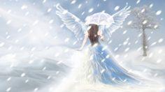 Snow Angel - snow angel, wonderful, great, amazing, enchanting, winter, woman, awesome, stunning, marvellous, girl, charming, art, snowfall, super, skyphoenixx1, abstract, tree, angel, outstanding, adorable, nice, fantastic, nature, wallpaper, beautiful, fantasy, snow, ice, pretty, season, artwork, picture, umbrella