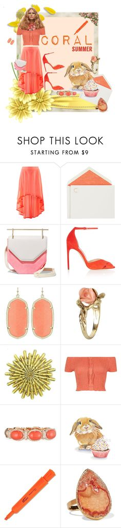 """""""Two-tones bag + Coral boho clothing"""" by zazaofcanada ❤ liked on Polyvore featuring H&M, Connor, M2Malletier, Brian Atwood, Vintage, River Island, Verdi, Dara Ettinger and twotonesbags"""