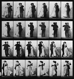 """Animal Locomotion; Plate 197 (Couple Dancing)"" by Eadweard Muybridge, c. 1887, via 20x200.com --- I was totally bummed that the 20x200 version sold out before I could buy one! Fortunately, this print is so old that there's no copyright infringement to buy elsewhere because I found an 8x10in print on Etsy via seller 'PillowMintPrints' for $15! (Look: http://www.etsy.com/listing/83775687/couple-dancing-muybridge-print-8x10)"