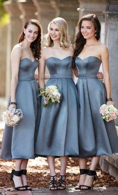 Simple Bridesmaid Dress,Sweetheart Bridesmaid Dresses,Tea Length Bridesmaid Dress,Grey Bridesmaid Dresses,Satin Bridesmaid Dress,A Line Bridesmaid Dress #bridesmaid     #short #simple #wedding #satin