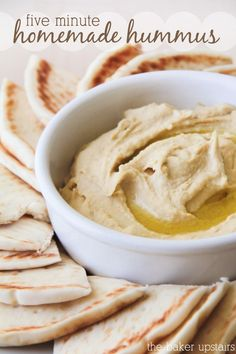 Five Minute Homemade Hummus Recipe - something my daughter would enjoy!