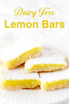 free lemon bars are a great and easy dessert recipes. Just a couple of simple steps and your done!Dairy free lemon bars are a great and easy dessert recipes. Just a couple of simple steps and your done! Dairy Free Lemon Bars, Vegan Lemon Bars, Dairy Free Recipes Easy, Dairy Free Desserts, Lemon Bars Healthy, Dairy Recipes, Lemon Cheesecake Recipes, Lemon Dessert Recipes, Easy Desserts