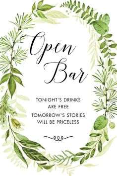 Printable Wedding Sign Wedding Open Bar Sign Greenery Open
