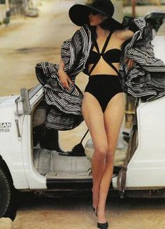 """Christy Turlingon in Azzedine Alaïa swimsuit, Christian Dior stole & Manolo Blahnik shoes. """"Perfect Partnership"""" by Patrick Demarchelier for Vogue UK, May 1990"""