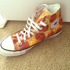 Pizza Converse  Pizza converse worn twice. Still very new looking. Box included. 7 men and 9 woman Converse Shoes Sneakers