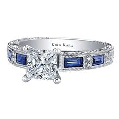 Kirk Kara Charlotte 18kt White Gold Ring with 0.75 Carats Blue Sapphires Baguettes and 0.09 Round Diamonds.