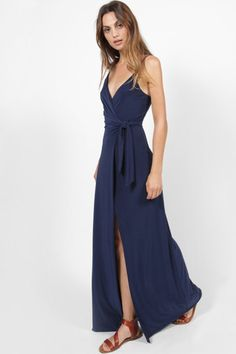 MISA VERONIKA NAVY SLINKY TIE UP SPLIT LEG MAXI DRESS
