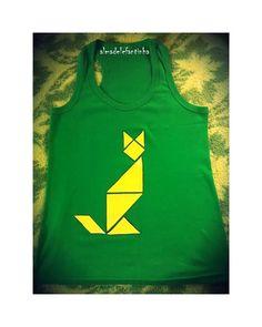 Gato Tangram. Camisetas pintadas a mano. Almadelefantinha  www.almadelefantinha.wordpress.com