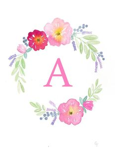 Original Custom Watercolor Flower Wreath by RosalinaDesign