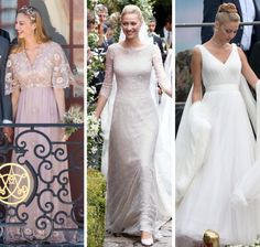 3 wedding gowns worn by Beatrice Borromeo on her Royal Wedding Weekend July 30-Aug. 1, 2015, to Pierre Casiraghi, grandson of Princess Grace of Monaco