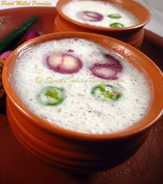 Healthy porridge recipe with Pearl Millet (Kambu or Bajra). Kambu Koozh was once a common food in the Indian state of Tamilnadu. It vanished for a while and in recent years, food made with kambu/bajra is reappearing in the form of healthy food. Healthy Porridge Recipe, Porridge Recipes, Ayurveda, Pearl Millet, Healthy Indian Recipes, Taste Made, Tasty, Yummy Food, Chaat