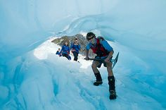 Exploring an ice cave on Franz Josef Glacier. Pic courtesy westcoast.co.nz