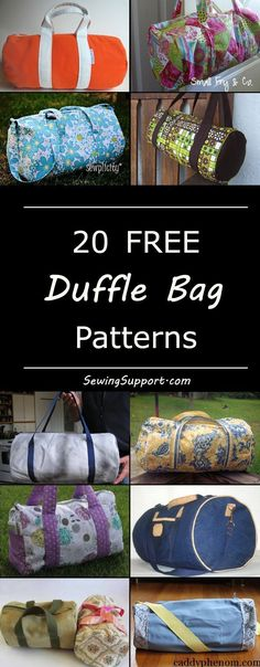 Free duffle, duffel bag diy projects, sewing patterns, and tutorials. Cute bags great dance or gym bags, and for kids. #GymBag