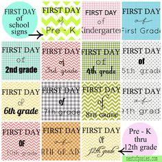 Just in time for back to school!  First day of school signs PreK - 12th grade - free printables to use for their pictures on the first day. via Nest of Posies