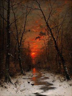 Heinrich Gogarten Sunset over the Winter Forest, 1881 Fantasy Landscape, Winter Landscape, Landscape Art, Landscape Paintings, Fantasy Art, Sunset Paintings, Landscape Illustration, Arte Obscura, Winter Scenery