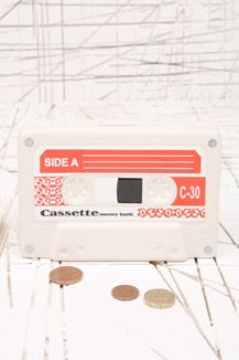 White Cassette Money Bank    *Maybe I'll be able to save up all my change instead of leaving it lying around and discovering little stashes like 5 years later. Even found a whole purse full in the loft from when I was like 9.