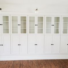 Step by step tutorial for how to build this wall of cabinets, using IKEA bookcases.