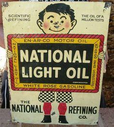 Original National Light Oil Tin Sign